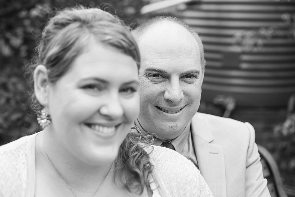 valentines day small backyard wedding portrait black and white