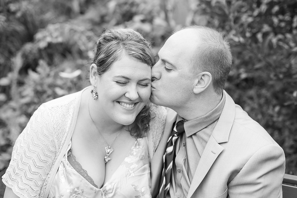 valentines day small backyard wedding portrait cute kiss