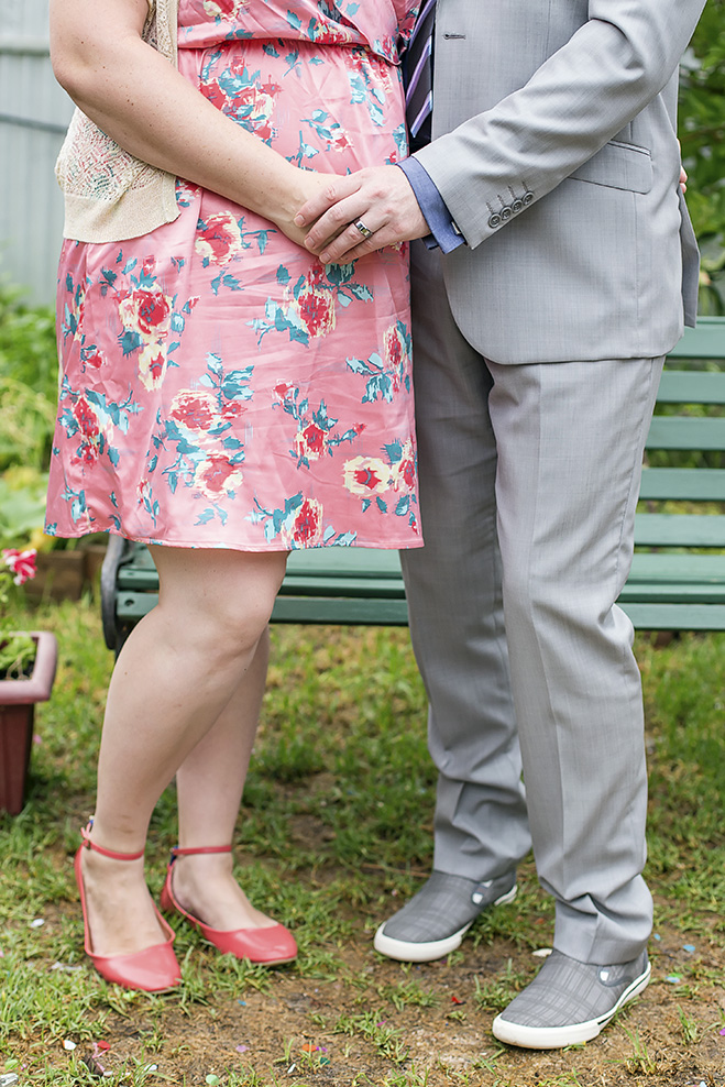 valentines day small backyard wedding holding hands portrait