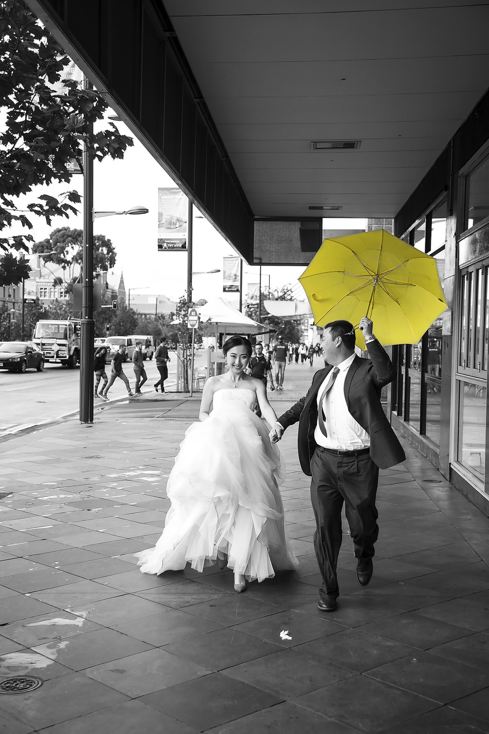 Wedding Photography Adelaide City - Running with Umbrella