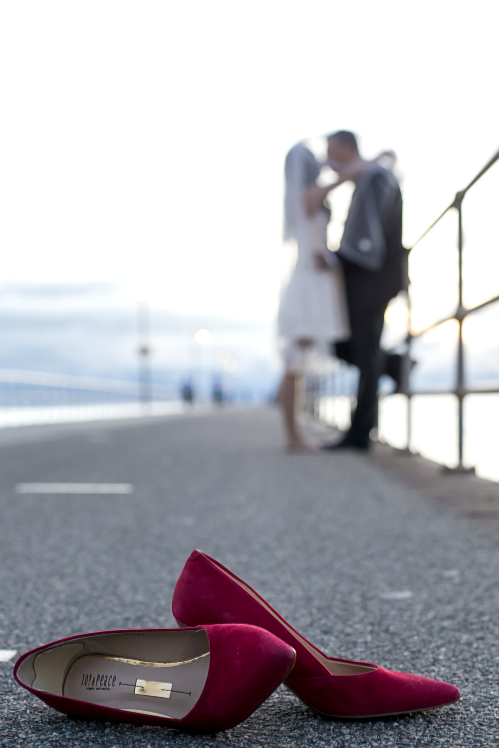 wedding photography glenelg beach - shoes on the jetty