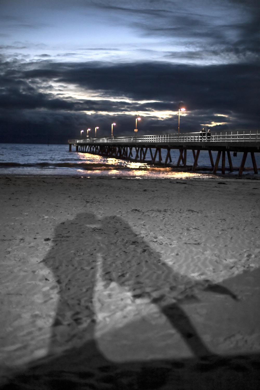 twilight wedding photography glenelg beach - jetty and shadows