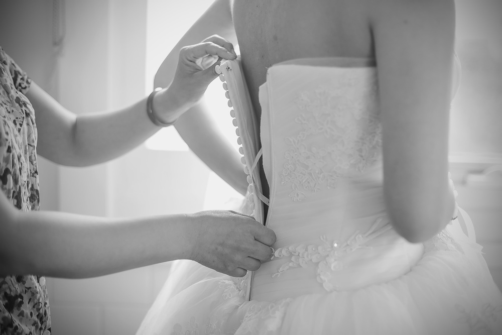 Black and White Film Style Bridal Preparation photo 4