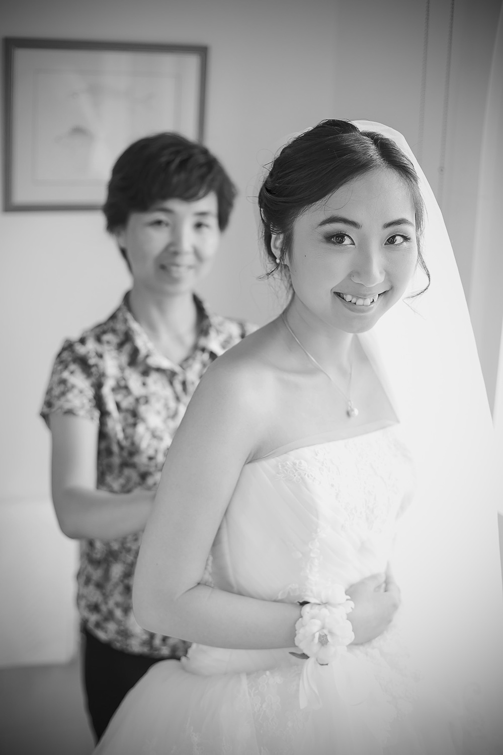 Black and White Film Style Bridal Preparation photo 5