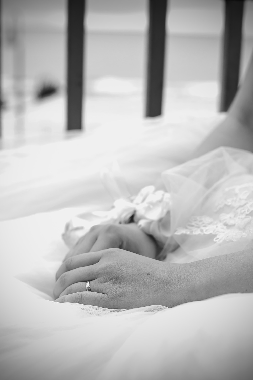 Black and White Film Style Bridal Preparation hands photo 8
