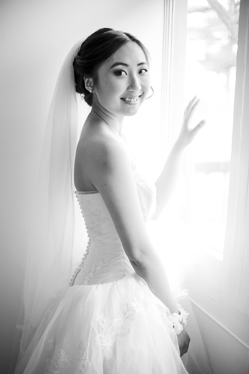 Black and White Bridal Preparation hands photo by window 9