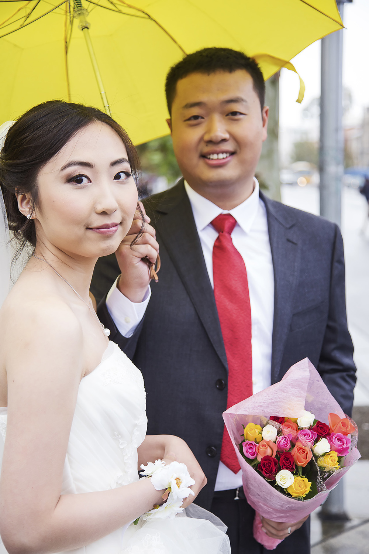 Adelaide City Wedding Portraits Bright Yellow Umbrella