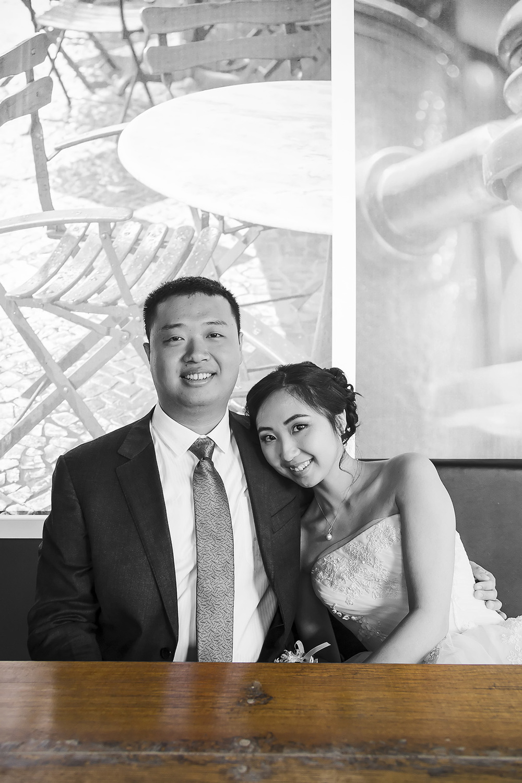 Adelaide City Cafe Wedding Portraits black and white colour key wood