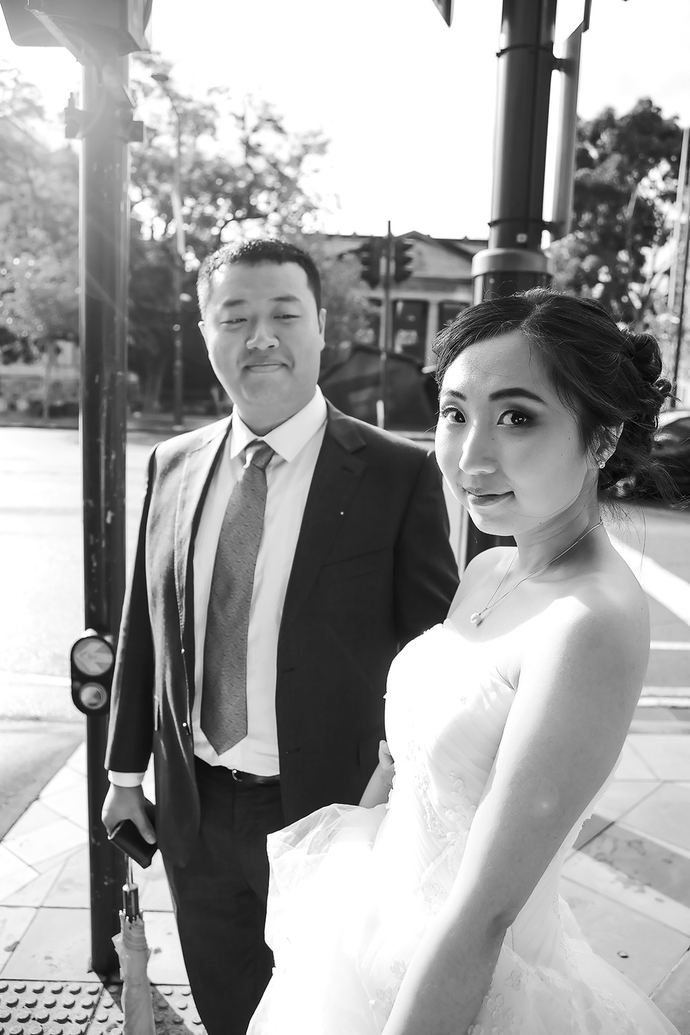 Adelaide City Black and White Wedding Portrait