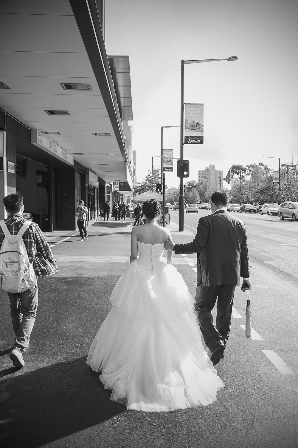 Adelaide City Black and White Wedding Portrait Film Style