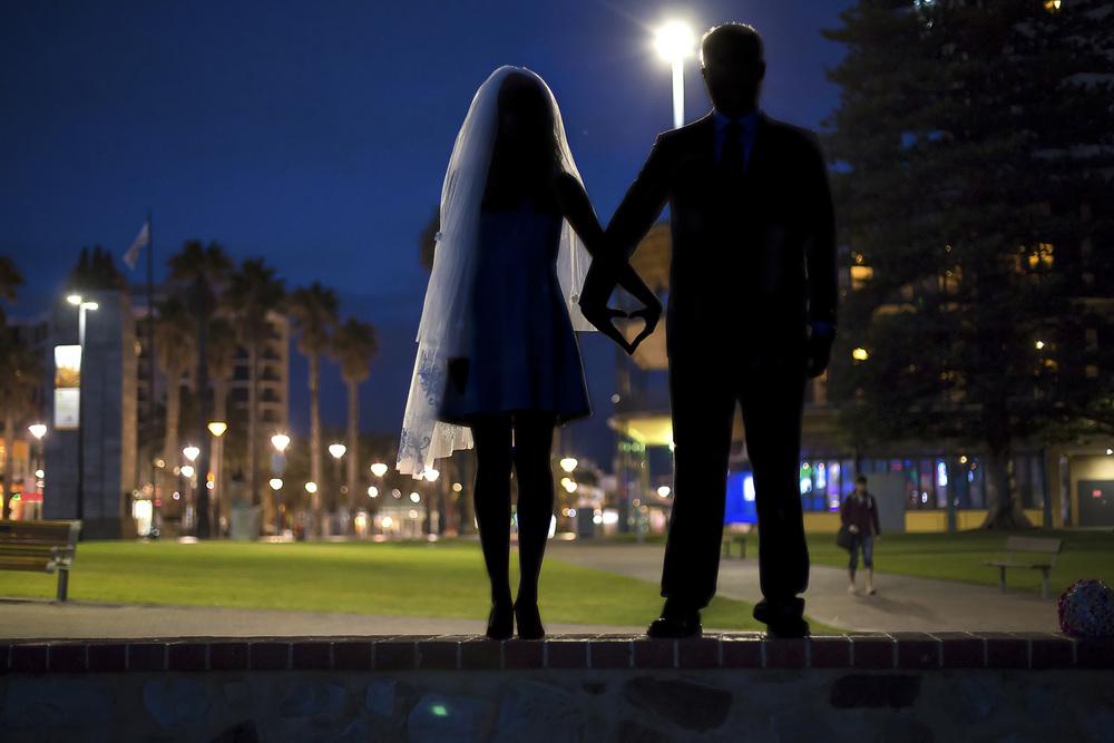 Glenelg Beach Twilight Silhouette Wedding Photo 1