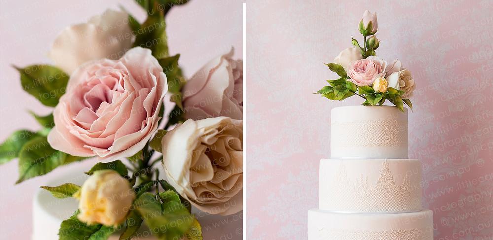 Wedding Photography of Sugar Art 3 teir Rose Cake.jpg