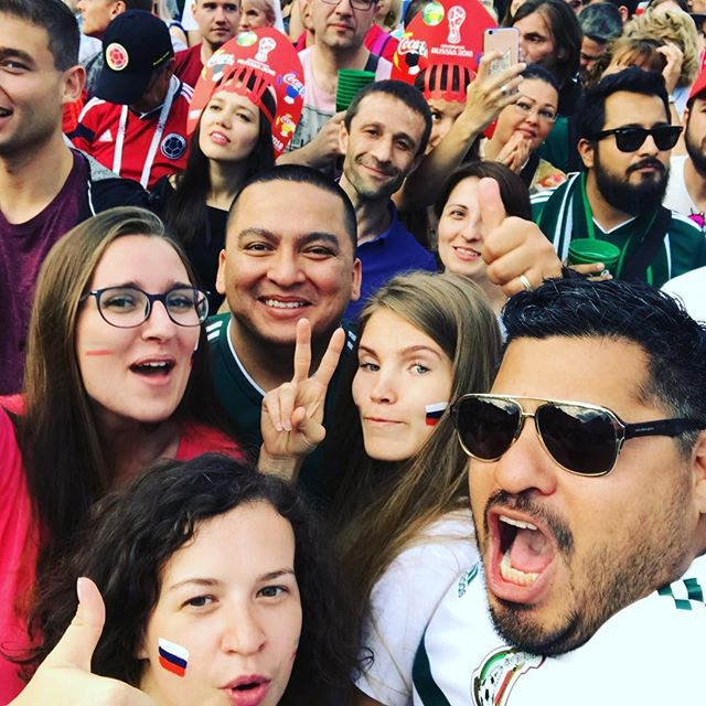 Our conguero Estevan is in Moscow being loud and obnoxious. #worldcup2018 #eltri #vivamexico🇲🇽