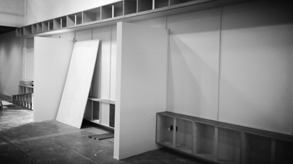 Baltic birch plywood, acoustic panels + DESIGN TEX and some raw steel in the STANCE creative area.