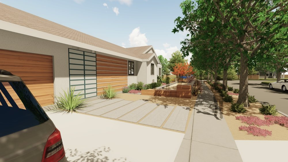 Realistic Rendering: Materiality and color to feel closer to walking right in. Here we are re-envisioning the private/public sides of a house that can engage the eclectic neighborhood.