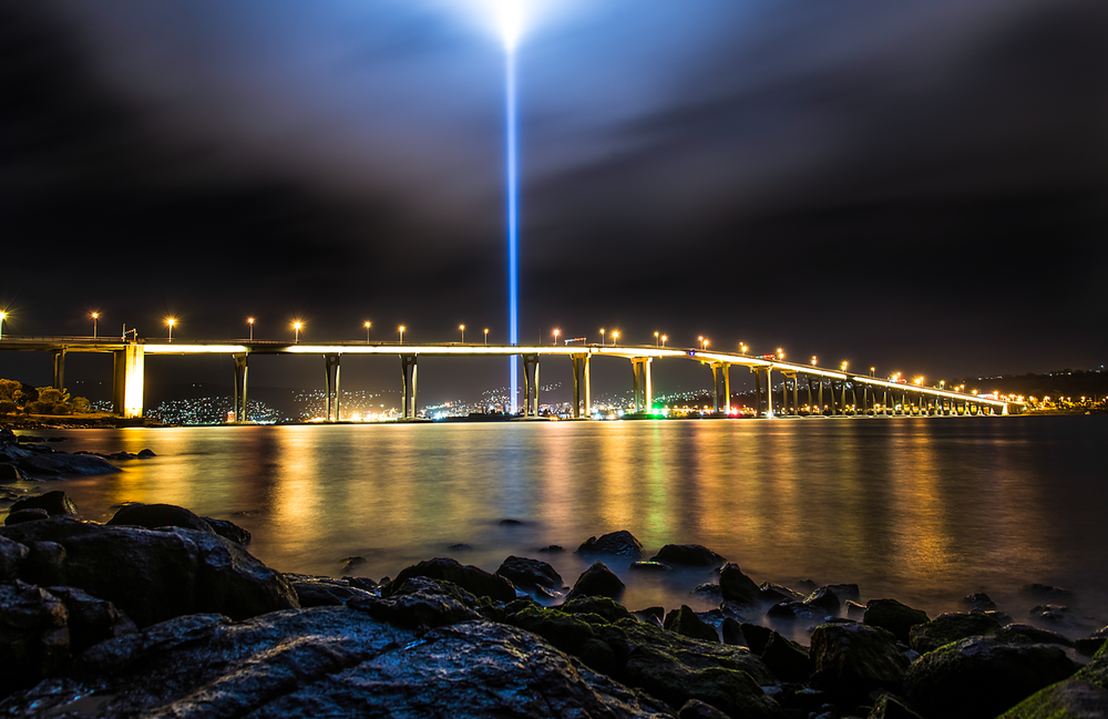 Tasman Bridge & Spectra Light Tower - DARK MOFO 2013 - Tasmania - Wilkography