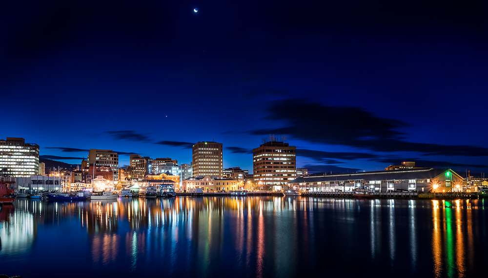 Hobart Waterfront By Night - Tasmania - Wilkography