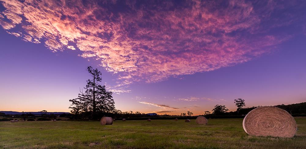 Hay Bale Sunset - Tasmania - Wilkography