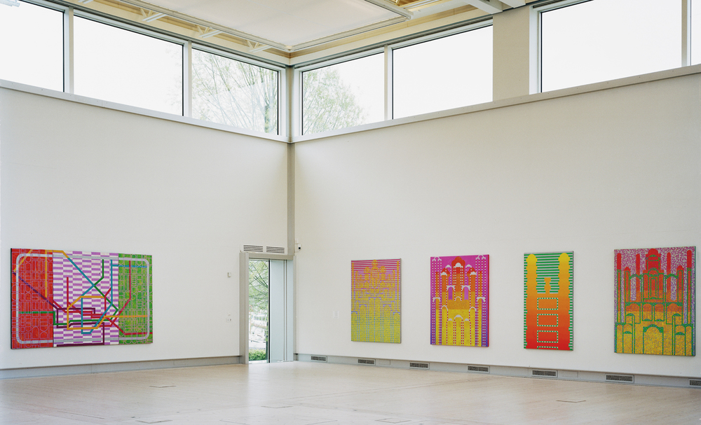 1500 Uddevalla art hall installation view 3 2005,paintings Here to There 2002 and 4 from the series Unbreable Lightness of being 2004.jpg