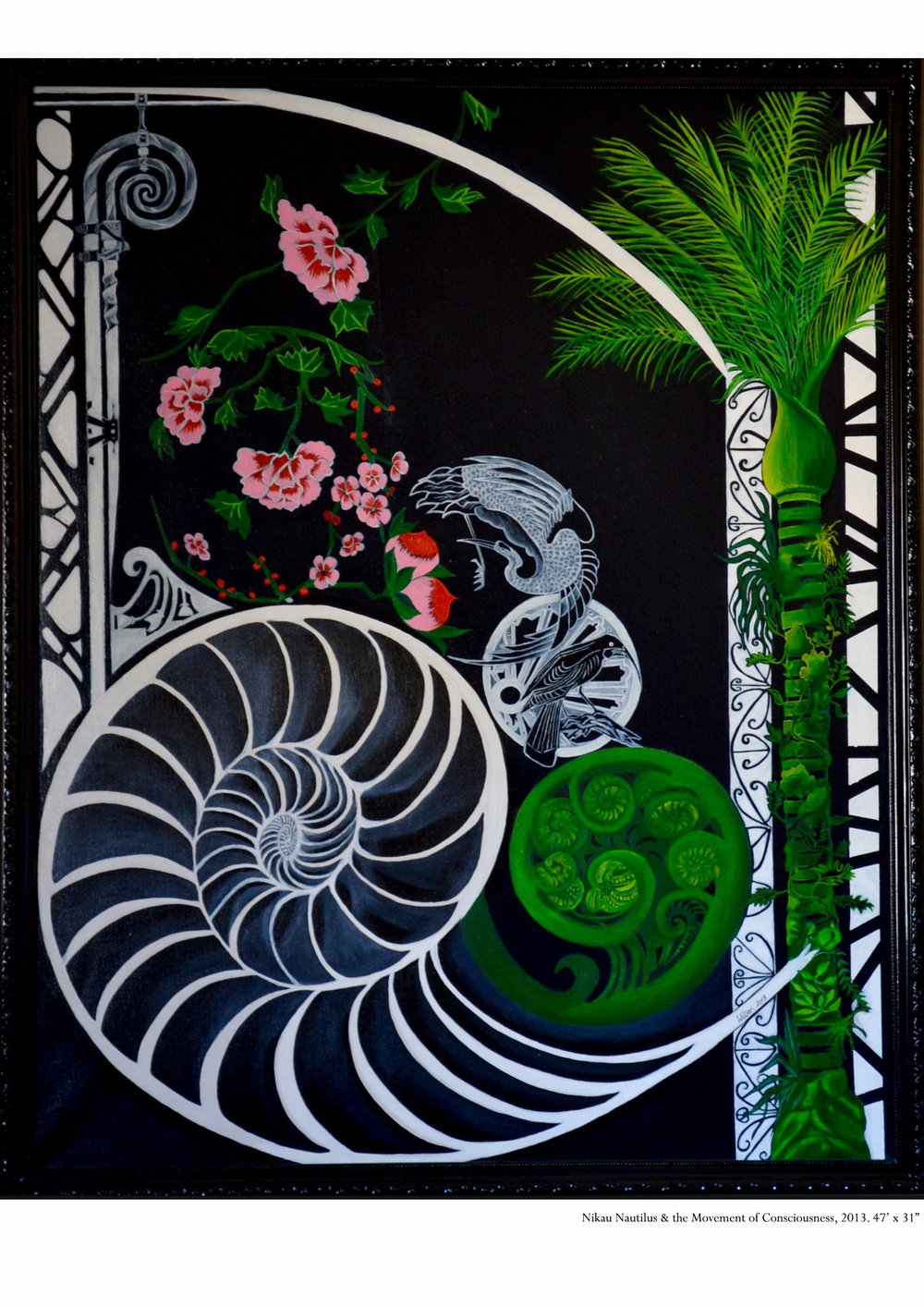 Nikau Nautilus & the Movement of Consciousness   2013  Oil on Canvas  46'x31""