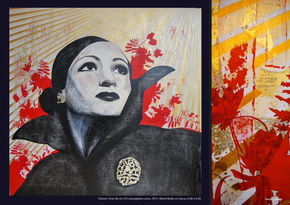 The Art of Contemplation Series #Dolores Del Rio  2013  Mixed Media on Canvas   6.6ft x 6.6ft
