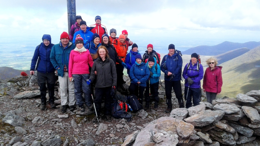 Enniscrone Walking Club at the summit of Carrauntoohill. Pictured, from left, are: