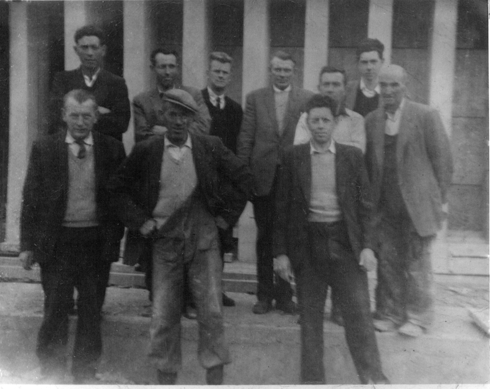 CHURCH BUILDERS, 1965: Back row, from left: Brod Feeney, Packie Tighe, Mick Robinson (RIP), Michael Gilroy (RIP), Michael Clarke and Paddy Irwin (RIP). Front row, from left: Paddy Mullaney (RIP), Miko Diamond (RIP) and Mick Rafter (RIP).