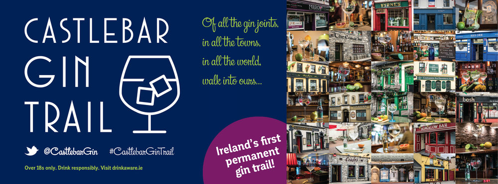 Gin is in! Visit Castlebar, Co Mayo (aiming to become the Gin Capital of Ireland) to enjoy Castlebar Gin Trail. Remember to drink responsibly. Concept and design by SiobhanFoody.com