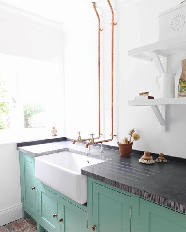 """Utility Room I designed in our """"Stableyard Project, one of my favourite projects to date. @haminteriors . . . #utility #bootroom #oxfordshire #tomhouseproperty #interiordesign #interiordetail #coppertaps"""