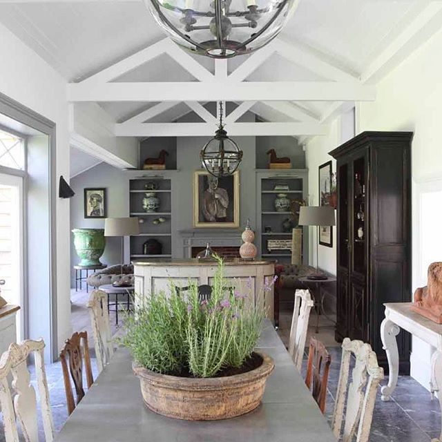 Vaulted living, kitchen and dining room at The Stable Yard. I loved creating this space from the boarded ceilings, the Jamb lanterns to the final interior design. #interirordesign #jamb #eclectic #tomhouseproperty