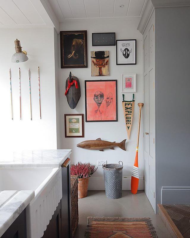Art wall in our no2 project #art #interiordesign #eclectic #kitchendesign @sanborncanoe