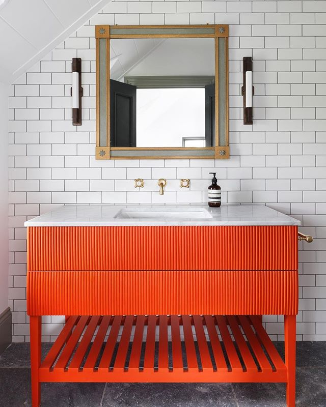 Our orange vanity we designed in situ at one of our latest projects 🍊#tomhouseproperty #bathroominspo #bathroominterior #eclecticinteriors #interiordesign #haminteriors