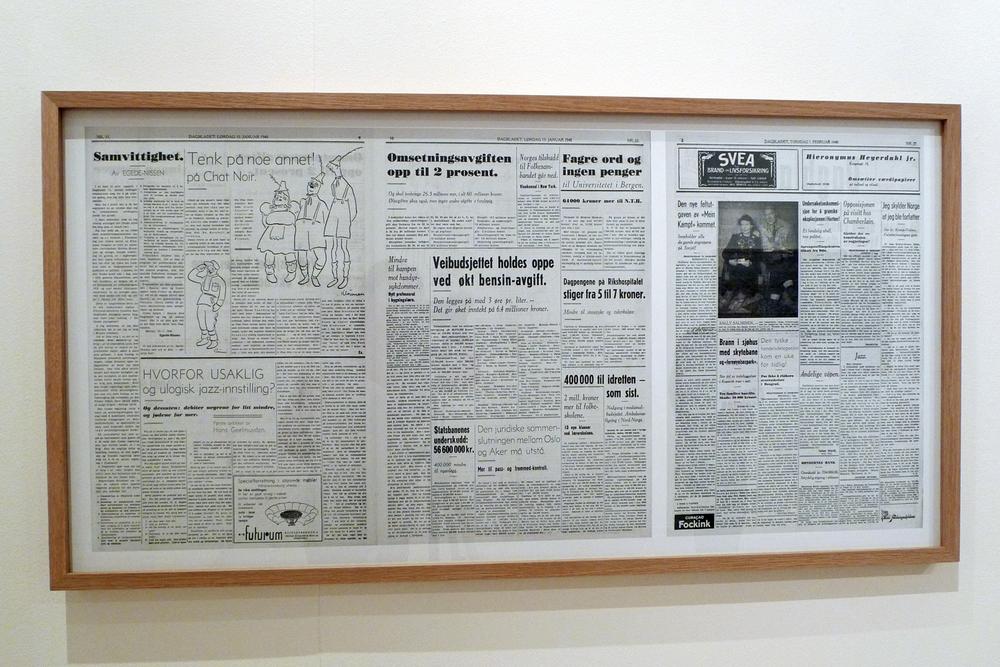 """Dagbladet 13 January and 1 February 1940"" digital print, 61,5 x 118 cm.  Enlarge"