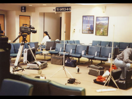 Director, David Evans, begins elaborate set up in the Kalamazoo International Airport.