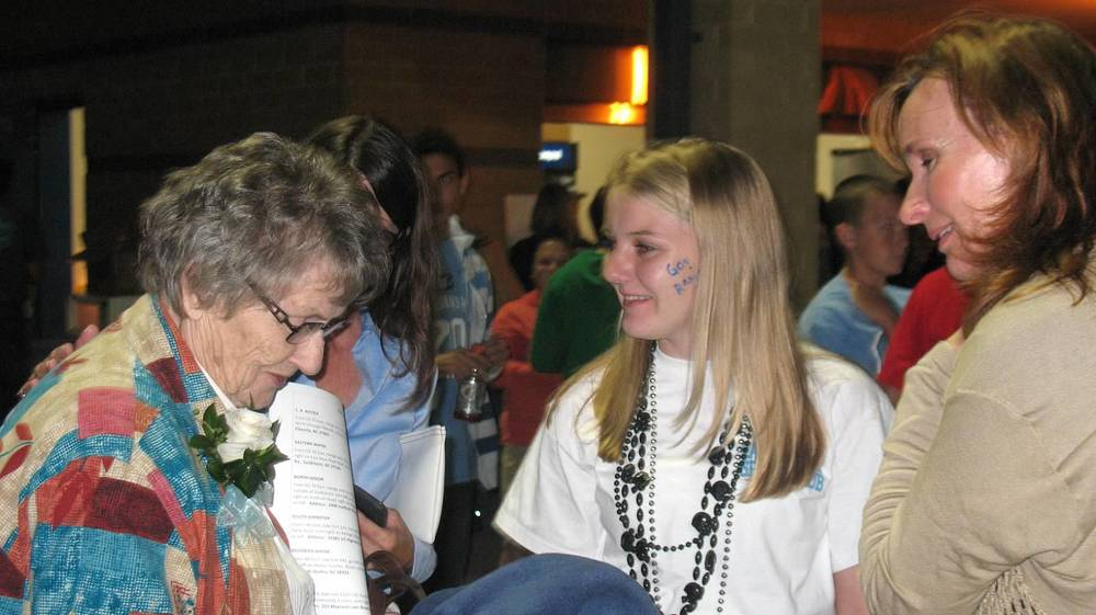 Ms Mae Belle Gulley and Cindy Johnson at Homecoming.JPG