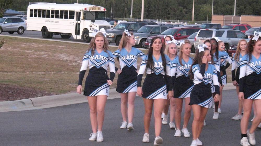 Ram Cheerleaders pre-game entrance for Homecoming.JPG