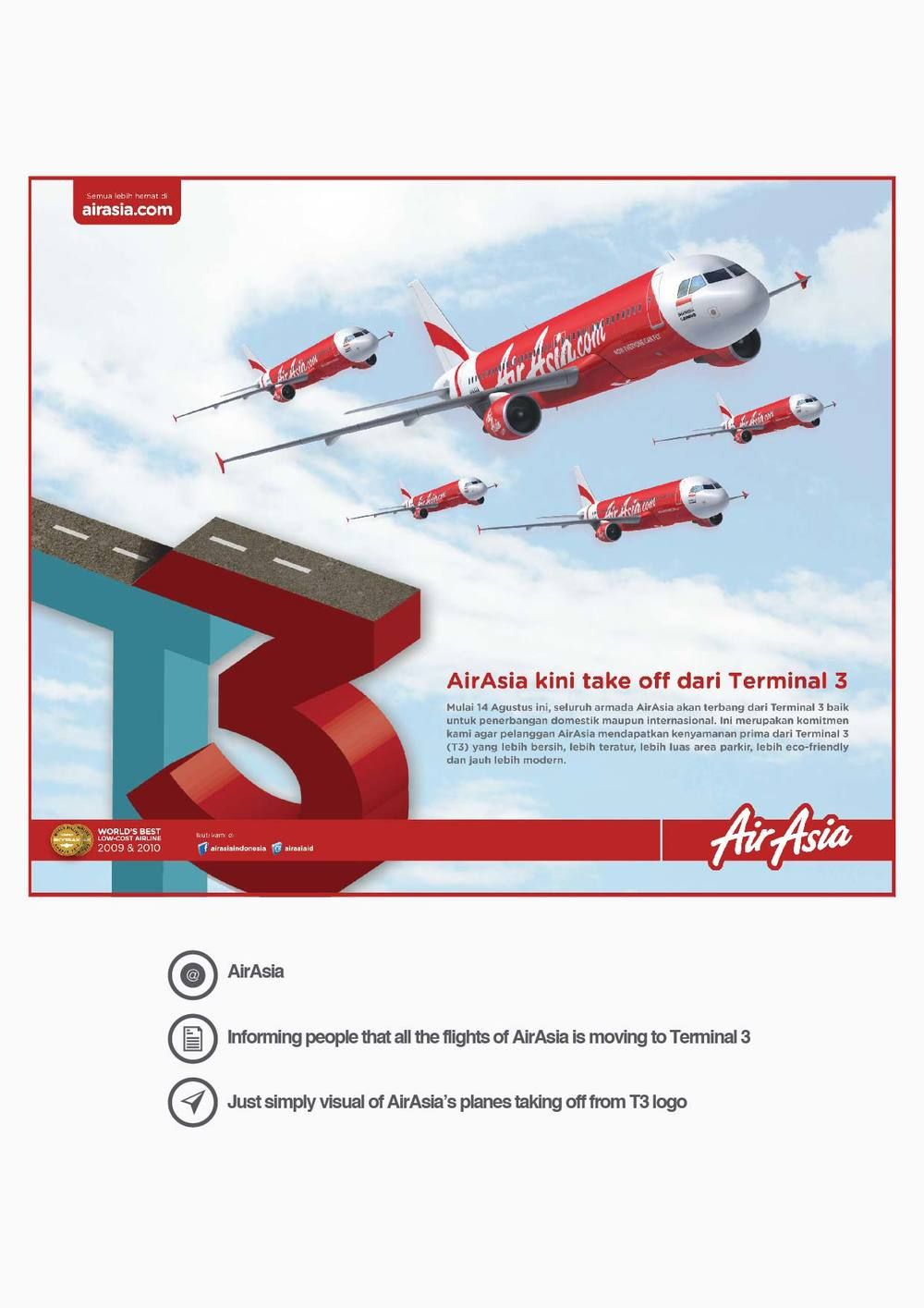 AirAsia Informing people that all the flights of AirAsia is moving to Terminal 3