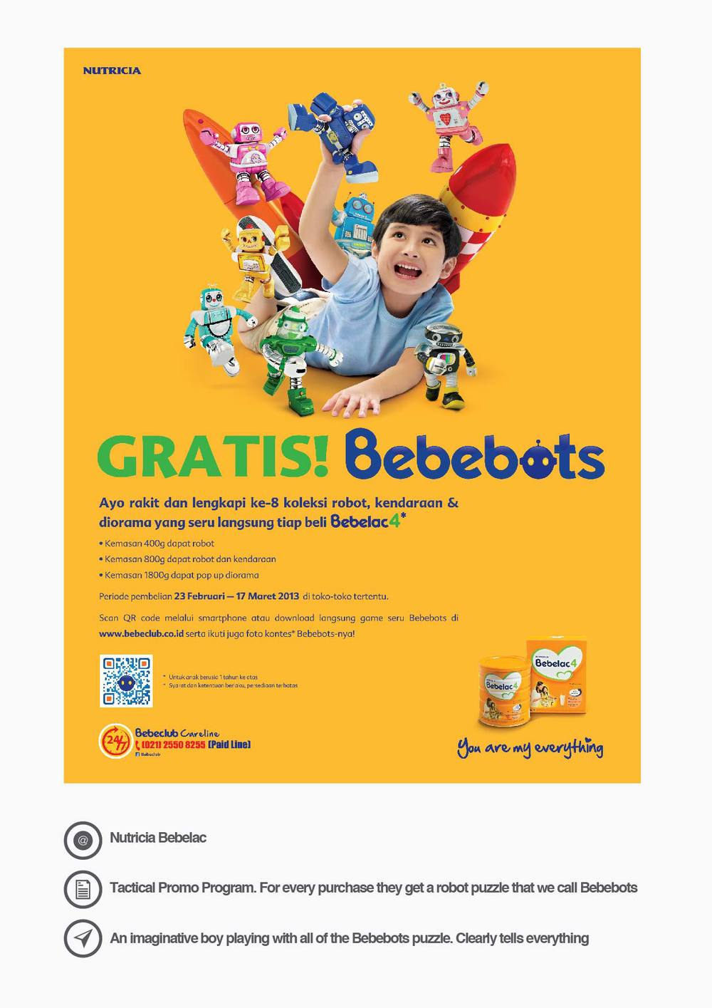 Nutricia Bebelac Tactical Promo Program. For every purchase they get a robot puzzle that we call Bebebots