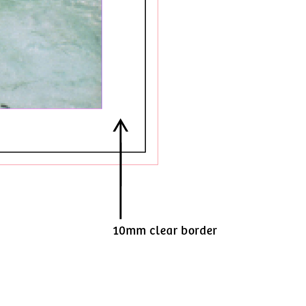 Border   The maximum printable area for Riso is 400mm x 277mm, and the largest paper size we can print on is A3. If we are producing A3 prints, we need a 10mm clear border around the edge of the sheet. We can fold A2 paper and feed it through the machine but it is not suitable for larger print runs.