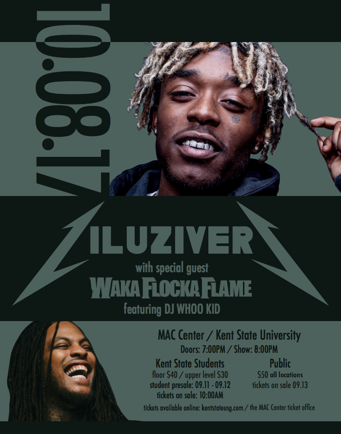 Lil Uzi Vert with Special Guest Waka Flocka Flame will be coming to KSU on October 8th! - If you are a KSU student, purchase your tickets here: Student Link Limited to two tickets per student.If you are a member of the general public, purchase your tickets here: General Public Link