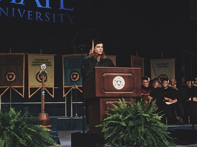 Today our president, @lartaw92 spoke in front of #kentstate2022 at Convocation. We are excited to see the changes this new class will bring to our university!
