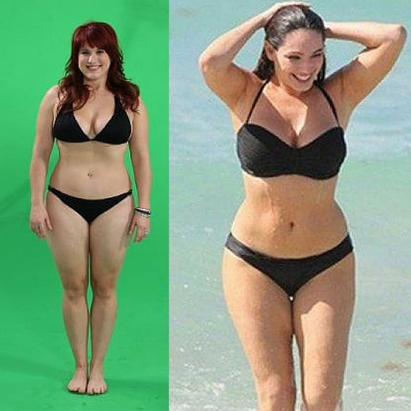 Links: me, op een shoot voor het Kyalin spotje (ik woog toen 72kg, net zoals nu). Rechts: de vrouw met het 'perfecte lichaam' Kelly Brook.