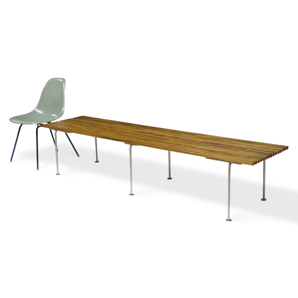 Outdoor rift in teak stainless 7 ft classic furniture inspired by mid century classics made in grand rapids mi out of solid hardwoods