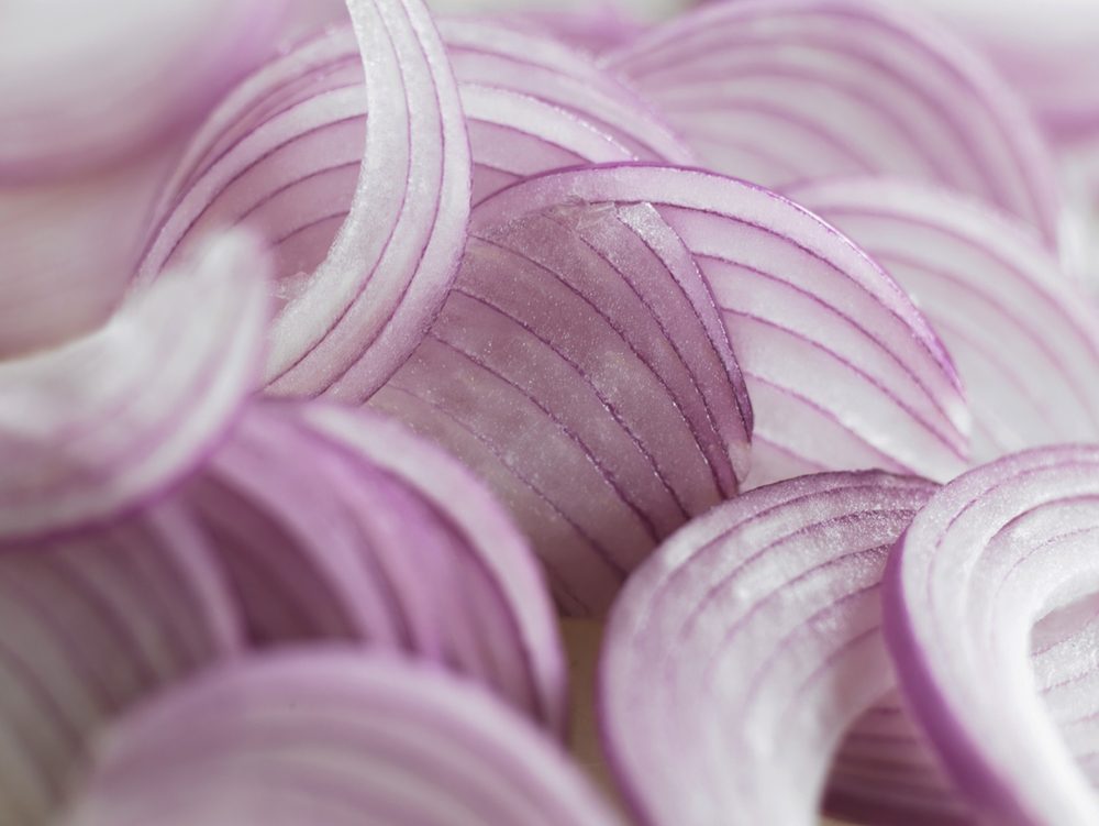 Sliced Asian red onions