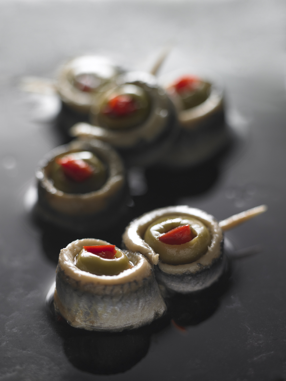 Anchovies stuffed with red pepper