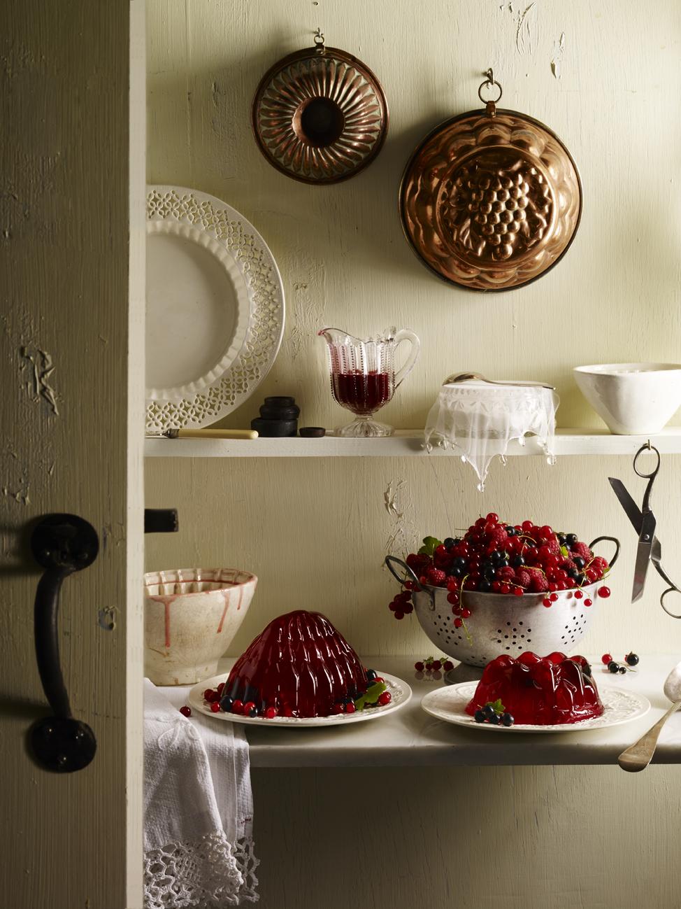 Cream kitchen still life with jellies