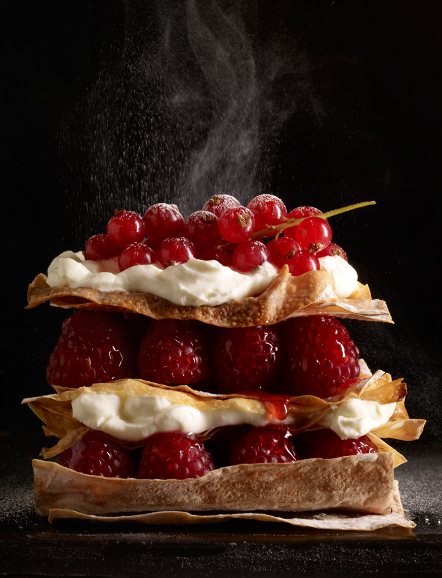 Raspberry and redcurrant millefeuille