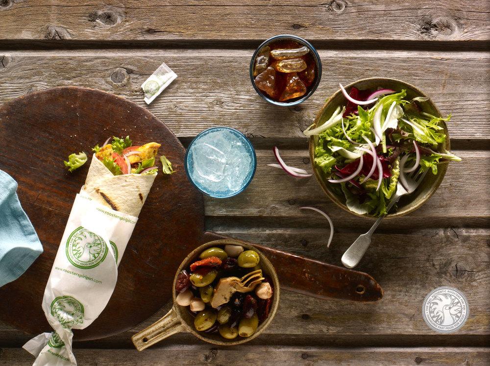 Roosters Piri Piri salad wrap