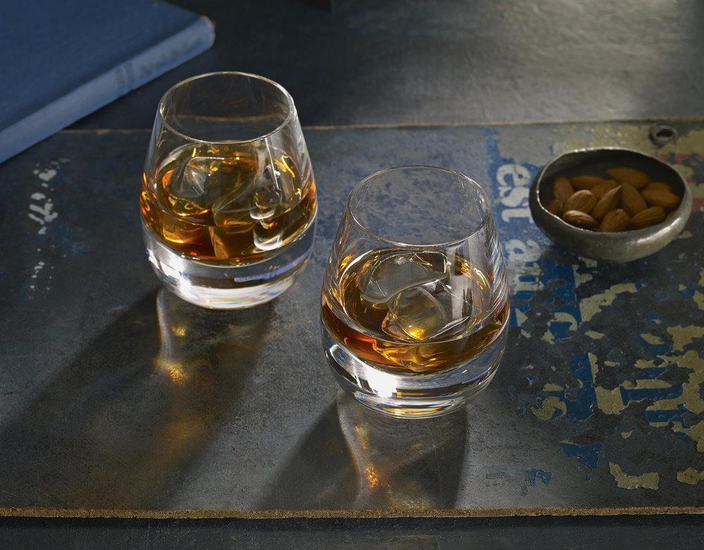 Bourbon on the rocks. Styling by Tamsin Weston