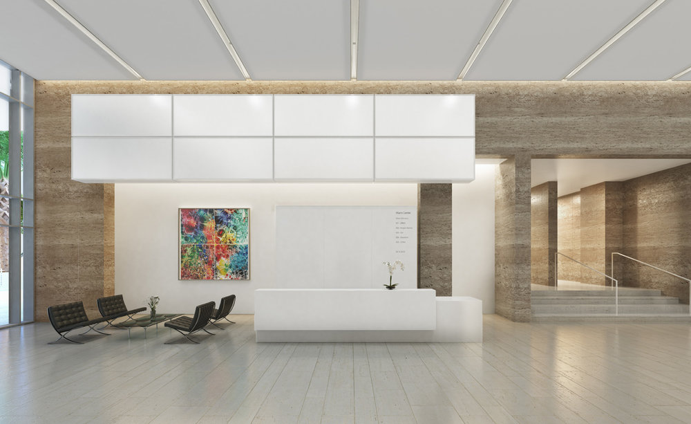 One of Miami's stalwart office buildings which dates back to 1983, the Citigroup Center in Downtown Miami revealed a sleek new Richard Meier-designed lobby in style during Design Miami.